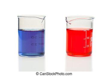 燒杯, 藍色的液体, 紅色