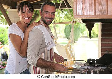 燒烤野餐, 夫婦, 烹調