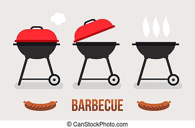 燒烤野餐, 插圖, 概念