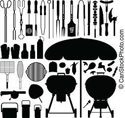 燒烤野餐, 黑色半面畫像, 矢量, 集合, bbq