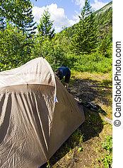 營地, 在, 荒野