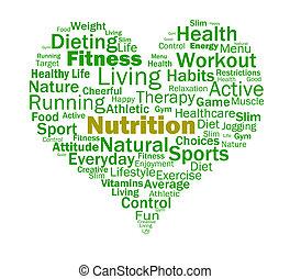 營養, 心, 顯示, 健康的食物, 營養物, 以及, 營養