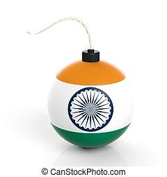 爆弾, インド, 隔離された, バックグラウンド。, 旗, 白, 砲弾