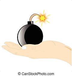 爆弾, 中に, 手
