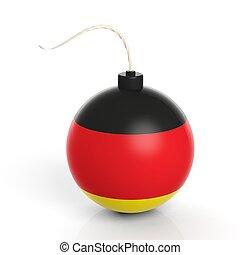 爆弾, 隔離された, バックグラウンド。, 旗, 白, ドイツ, 砲弾