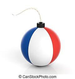 爆弾, 隔離された, フランス, バックグラウンド。, 旗, 白, 砲弾