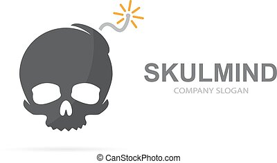 爆弾, combination., 頭骨, 危険, 爆発, シンボル, logotype, 死んだ, ∥あるいは∥, ベクトル, デザイン, ロゴ, icon., 独特, template., 破壊