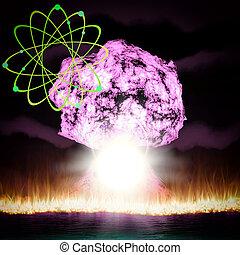 爆炸, 核, 符號,  rendering, 原子, 能量,  3D
