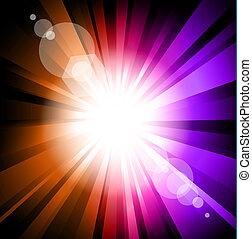 爆発, 光線, 効果, ライト, カラフルである, まぶしい光, レンズ