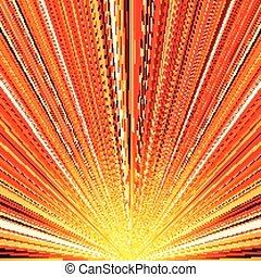 爆発, 抽象的, 黄色の背景, オレンジ, しまのある
