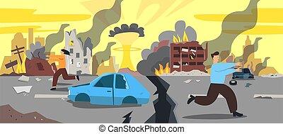 爆発, 漫画, 建物, 台なし, 都市, ベクトル, 破滅的である, illustration., 最後の審判の日, 損害