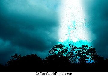爆発, 空, 奇妙, 落ちる, オブジェクト, 夜