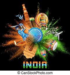 爆発, 色, 三色旗, インド, 粉, 背景, chakra, ashoka