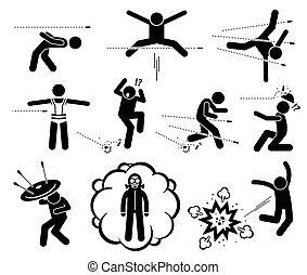 爆発, 銃弾, 人々, 銃, 避けること, 跳躍, attack., 爆弾