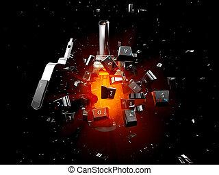 爆発, grenade., 隔離された, イラスト, 黒い背景, キーボード, 3d