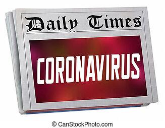 爆發, coronavirus, 3d, 前面, 報紙, 頁, 警報, 大流行病, 插圖, covid-19