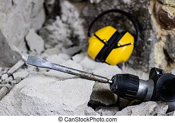 爆破, ......的, walls., 電, 錘子, 鋼盔, 以及, 听到保護, 躺, 上, the,...
