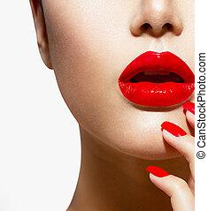 爪, 構造, 唇, マニキュア, セクシー, 赤, closeup.