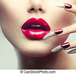 爪, 構造, 長い間, 唇, グロッシー, manicure., 赤