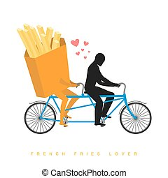 爱人, french, fries., 食物, 在上, bicycle., 情人, 在中, cycling., 人, 卷, fastfood, 在上, tandem., 接合点, 走, 带, 饭。, 浪漫, date., 浪漫, 描述, undershot