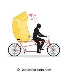 爱人, gold., 金色, 条金, 在上, bicycle., 情人, 在中, cycling., 人, 卷, 快餐, 在上, tandem., 接合点, 走, 带, wealth., 浪漫, 日期