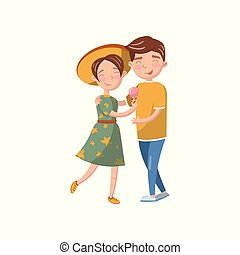 爱, 夫妇, 年轻, 描述, 矢量, 拥抱, 卡通漫画, 开心