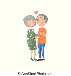 爱, 夫妇, 描述, 矢量, 年长者, 卡通漫画, 开心