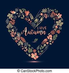 爱, 离开, autumn., 描述, 秋季, 矢量, 设计, heart., set.