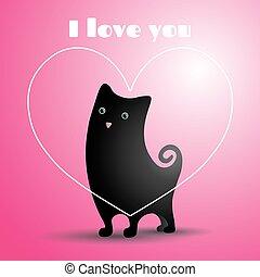 爱, 黑色, cat.