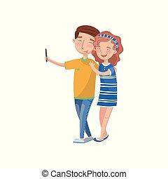 爱, selfie, 照片, 夫妇, 描述, 矢量, 做, 卡通漫画, 开心