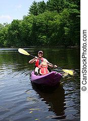 父亲, kayaking, 女儿