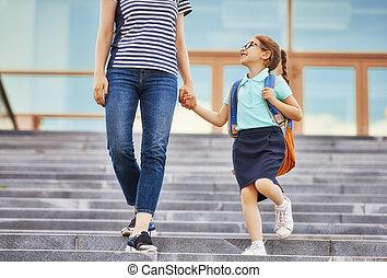 父母, 以及, 小學生, 去, 到, 學校