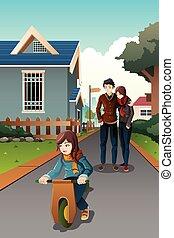 父母, 觀看, 他們, 孩子, 騎馬, a, 自制, 自行車
