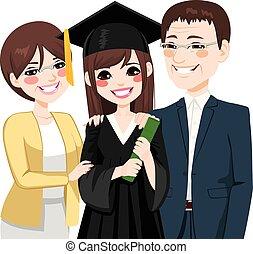 父母, 驕傲, 女儿, 亞洲人