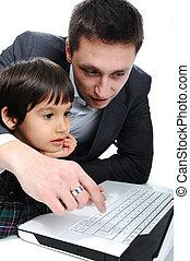 父親和儿子, 使用便攜式計算机