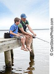 父親和儿子, 釣魚, 在, 湖
