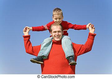 父, ∥で∥, 息子, 上に, 肩