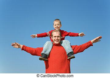 父, ∥で∥, 息子, 上に, 肩, 2