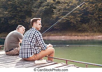 父, ∥で∥, 息子, 釣り, 上に, 突堤