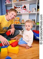 父 と 子供, 中に, 遊戯場, 2