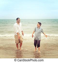 父 と 息子, 浜, 持つこと, a, 会話