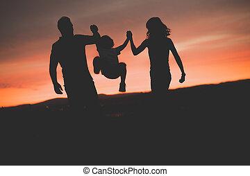 父, の上, 息子, 日没, 振動, 母, 空気