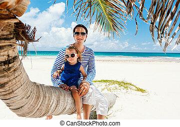 父, カリブ海, 娘, 休暇