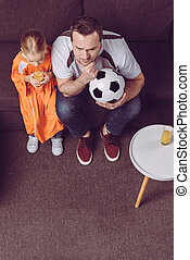 父, ゲーム, フットボール, 娘, 監視