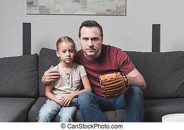 父, ゲーム, 野球, 娘, 監視