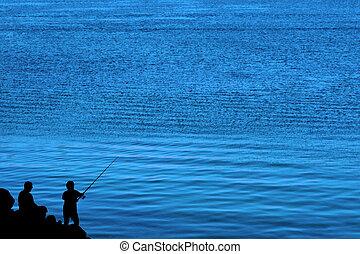 父, シルエット, 釣り, 息子