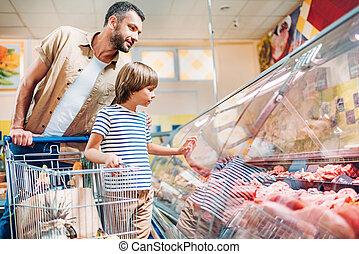 父, スーパーマーケット, 息子