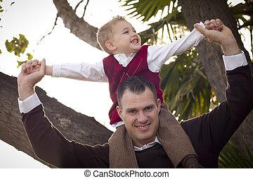 父, ハンサム, 公園, 息子