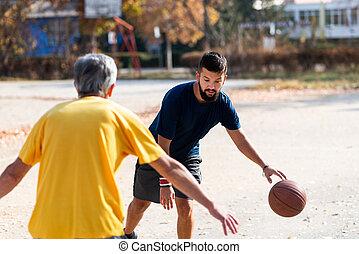 父, バスケットボール, 公園, 遊び, 息子