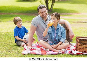父, 公園, 子供